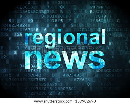 News concept: pixelated words Regional News on digital background, 3d render
