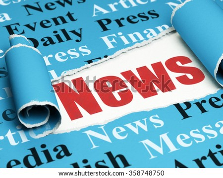 News concept: red text News under the piece of  torn paper - stock photo