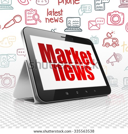 News concept: Tablet Computer with  red text Market News on display,  Hand Drawn News Icons background - stock photo