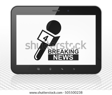 News concept: Tablet Pc Computer with black Breaking News And Microphone icon on display, 3D rendering