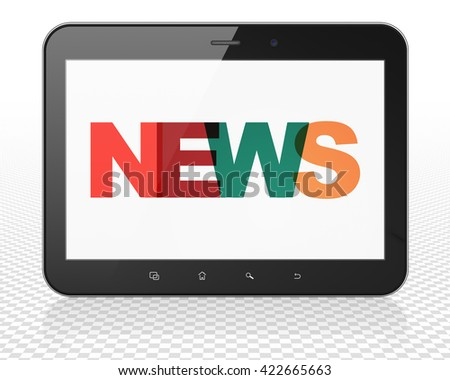 News concept: Tablet Pc Computer with Painted multicolor text News on display, 3D rendering