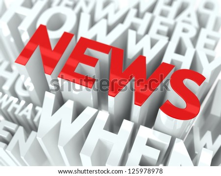 News Concept. The Word of Red Color Located over Text of White Color. - stock photo