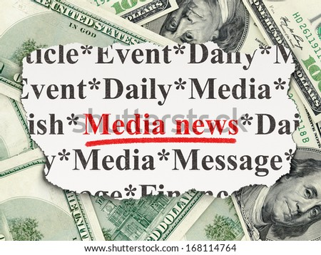 News concept: torn newspaper with words Media News on Money background, 3d render