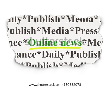 News concept: torn newspaper with words Online News on Paper background, 3d render