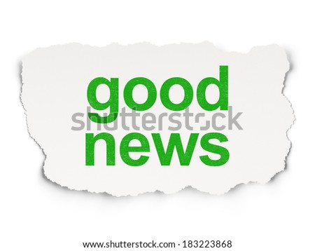 News concept: torn paper with words Good News on Paper background, 3d render - stock photo
