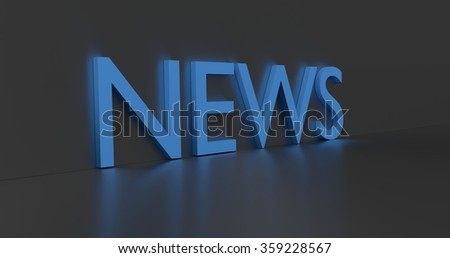 News concept word - blue text on grey background.