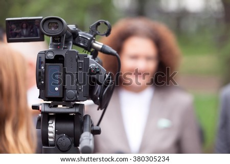 News conference. Media interview. - stock photo
