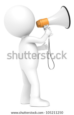 News 3d little human character with a Megaphone. Orange and white. Side view.  People series. - stock photo