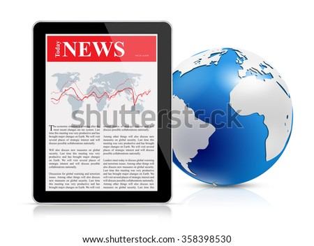 News feed on digital tablet and globe - stock photo