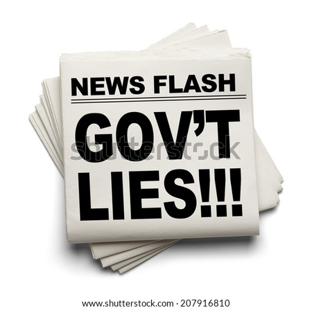 News Flash Gov't Lies News Paper Isolated on White Background.