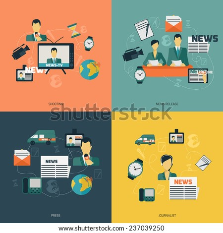 News flat set with shooting release press journalist isolated  illustration. - stock photo