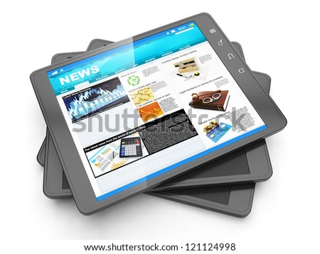 News from the internet, tablet PC and it fresh page navostey - stock photo
