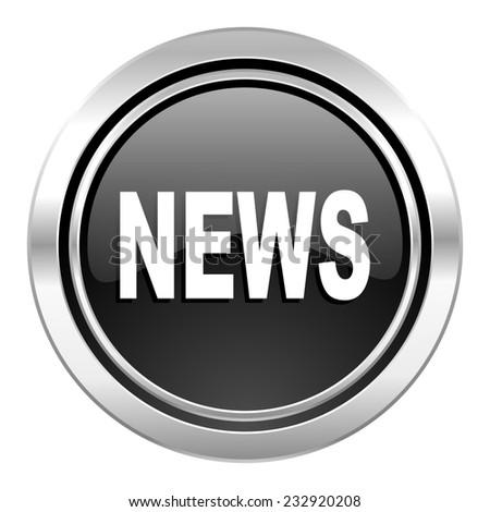 news icon, black chrome button  - stock photo