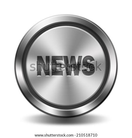 News icon. Circular button with metal texture. - stock photo