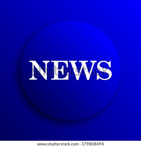 News icon. Internet button on blue background.