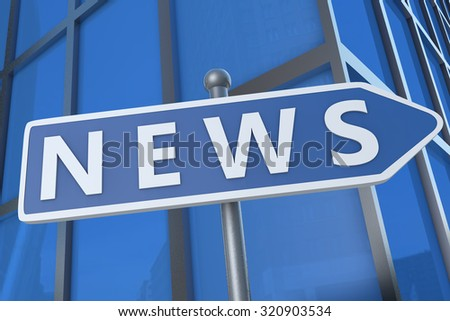 News - illustration with street sign in front of office building.