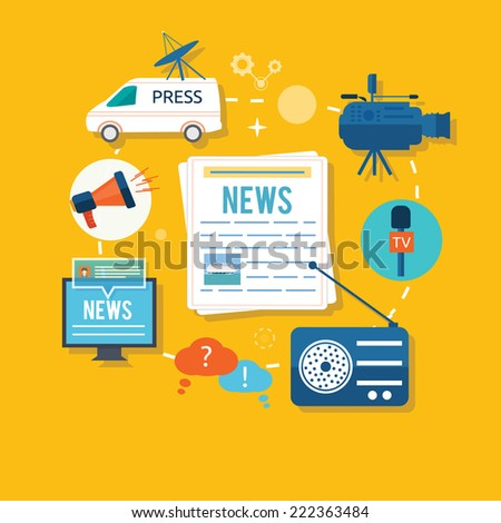 News journalist with microphone interviewing in flat design. Teleconference between journalists correspondents from different locations to connect avatar. Raster version - stock photo
