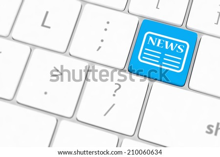 News key on a white keyboard - stock photo