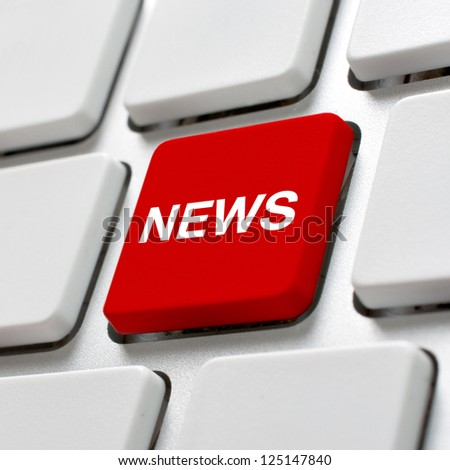 News keyboard. Close up image of white computer keyboard with red NEWS key - stock photo