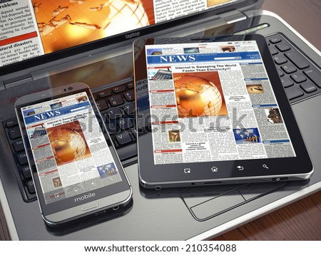 News. Media concept. Laptop, tablet pc and smartphone. 3d - stock photo