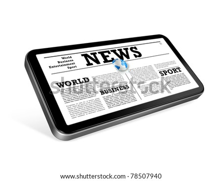 News on a mobile phone isolated on white with 2 clipping paths : one for global scene and one for the screen