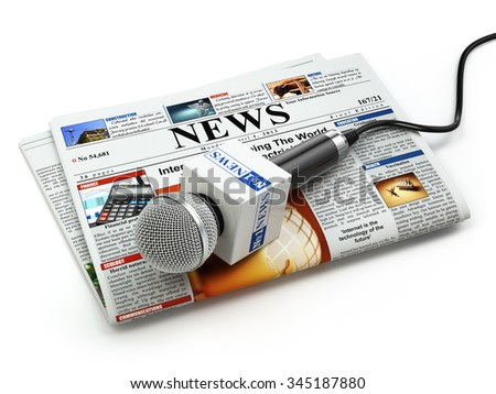 News or journalism concept. Microphone on the newspaper isolated on white. 3d - stock photo