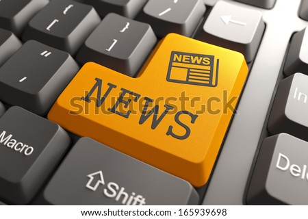 News - Orange Button with Newspaper Icon on Black Computer Keyboard. Mass Media Concept. - stock photo