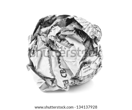 news paper ball on white - stock photo