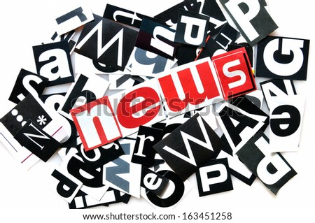 News , red, black and white letters - stock photo