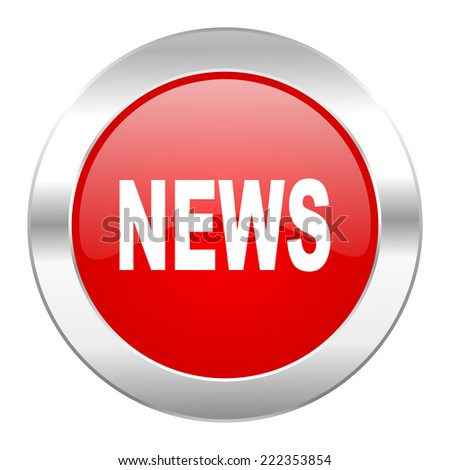 news red circle chrome web icon isolated  - stock photo