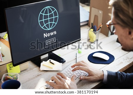 News Report Broadcast Information Update Concept - stock photo