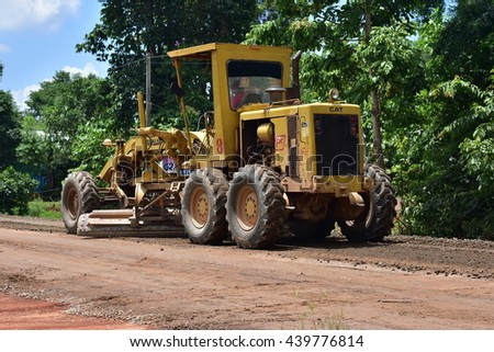 News Tao Ngoi, Sakon Nakhon, Thailand June 20, 2016. Road construction.  Roads are being built The grade large. Ban Dong Luang area in front of the hospital.