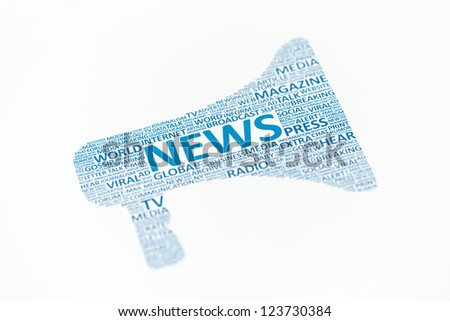 News text wordcloud megaphone concept printed on paper. Isolated on white. - stock photo