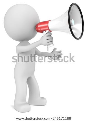 News. The dude 3D character  holding Megaphone. - stock photo