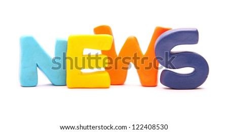 NEWS - webwords of plasticine letters standing isolated on white - stock photo