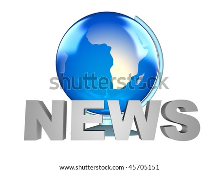 News word and blue Earth globe in the background - stock photo