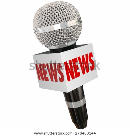 News word on a microphone or mic box to illustrate interviewing a subject for radio, tv, television, podcast or online journalism reporting