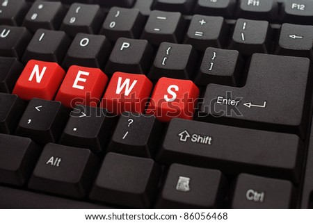 news word on black keyboard and red button