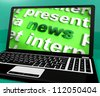 News Word On Laptop Showing Media And Information - stock photo