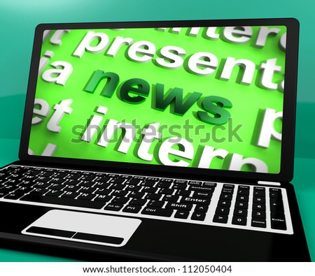 News Word On Laptop Showing Media And Information
