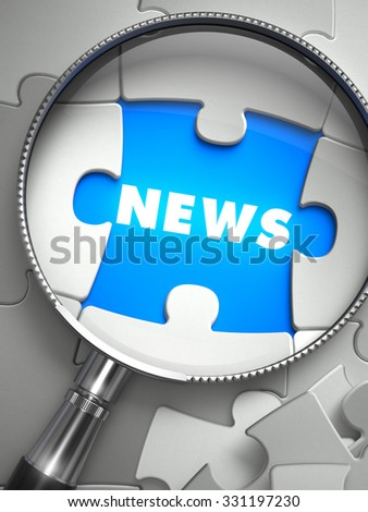 News - Word on the Place of Missing Puzzle Piece through Magnifier. Selective Focus. - stock photo