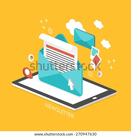 newsletter concept 3d isometric infographic with tablet showing an email  - stock photo