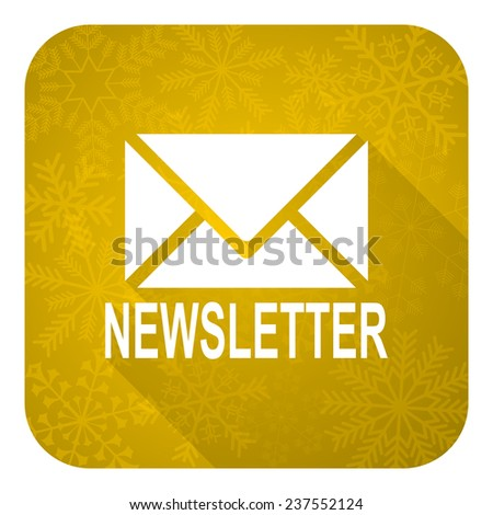 newsletter flat icon, gold christmas button  - stock photo