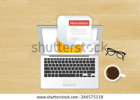 Newsletter illustration with laptop placed on realistic wooden background. Top view with cup of coffee and eyeglasses - stock photo