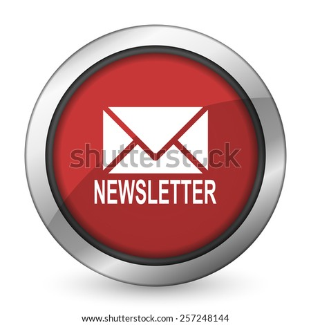 newsletter red icon   - stock photo