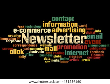Newsletter, word cloud concept on black background.