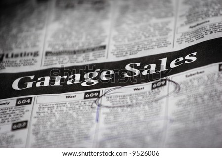 Newspaper Ad for Garage Sales (very shallow DOF)
