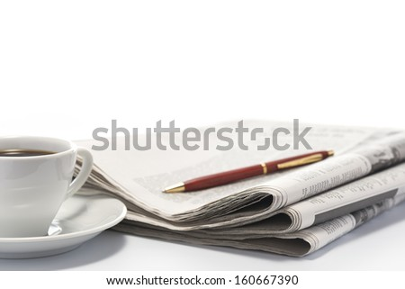newspaper and coffee cup. - stock photo