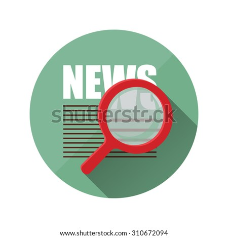 newspaper and magnifier.Icon flat style - stock photo