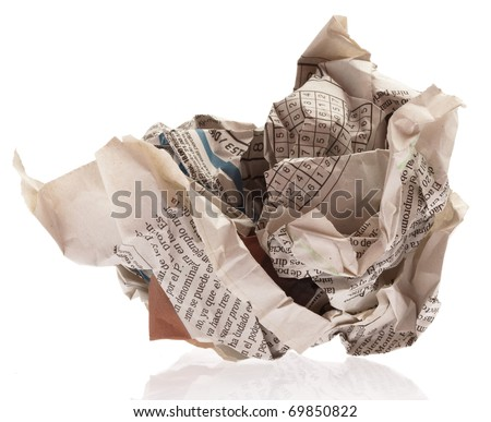 newspaper ball isolated on a white background - stock photo